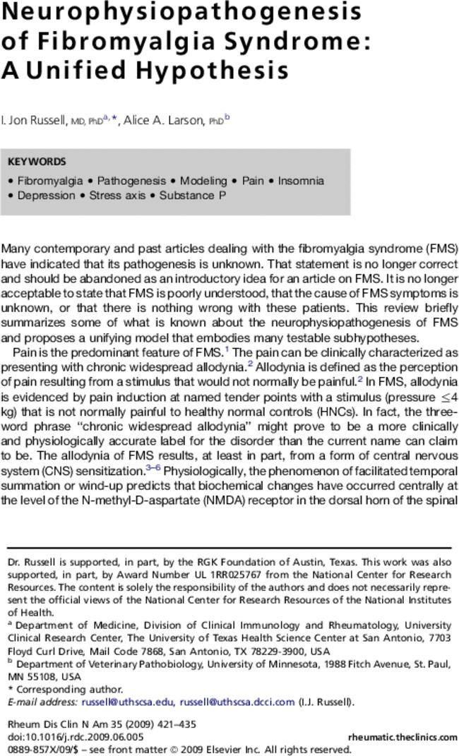 Neurophysiopathogenesis of Fibromyalgia Syndrome: A Unified ...